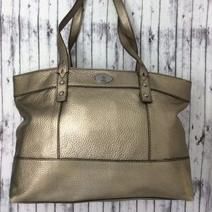 Fossil Large Gold Pebbled Leather Tote